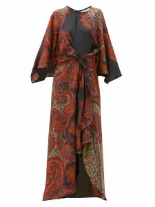 D'ascoli - Samovar Paisley Print Silk Twill Dress - Womens - Black Multi