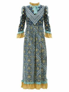 D'ascoli - Coromandel Printed Silk Dress - Womens - Navy Multi