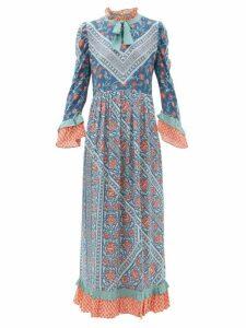 D'ascoli - Coromandel Printed Silk Dress - Womens - Blue Multi