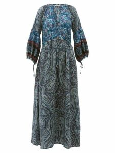 D'ascoli - Leela Floral Print Silk Maxi Dress - Womens - Blue Print