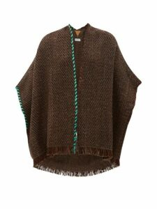 Wehve - Antartica Fringed Merino Wool Blend Cardigan - Womens - Brown