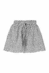 Womens Petite Smudge Spot Print Woven Flippy Shorts - white - 12, White