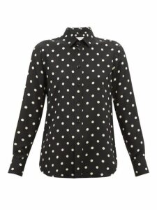 Saint Laurent - Polka Dot Print Silk Blouse - Womens - Black