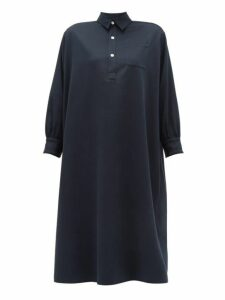 Holiday Boileau - Ines Buttoned Cotton Dress - Womens - Navy