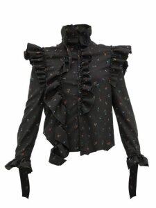 Vetements - Ruffle Trim Floral Print Blouse - Womens - Black Multi