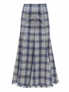 Gabriela Hearst - Amy Tartan Flannel Cashmere Midi Skirt - Womens - Blue Multi