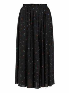 Vetements - Floral Print Crepe Midi Skirt - Womens - Black Multi