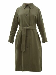 Margaret Howell - Inverted Back Pleat Cotton Twill Trench Coat - Womens - Dark Green