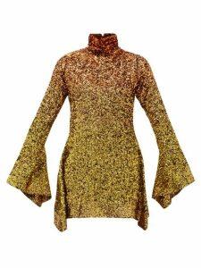 Halpern - Dégradé Sequinned Mini Dress - Womens - Gold Multi