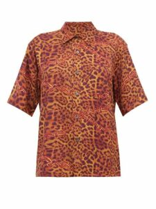 Aries - Leopard And Chain Print Crepe Shirt - Womens - Leopard