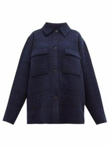 Jacquemus - Maille Oversized Checked Wool Shirt Jacket - Womens - Navy