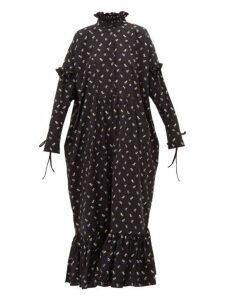 Cecilie Bahnsen - Nanna Floral Jacquard Ruffle Trimmed Dress - Womens - Black Blue