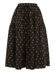 Cecilie Bahnsen - Adea Floral Fil Coupé Cotton Skirt - Womens - Black Yellow