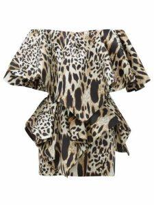 Alexandre Vauthier - Off The Shoulder Lynx Print Silk Mini Dress - Womens - Leopard