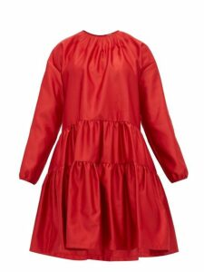 No. 21 - Tiered Satin Dress - Womens - Red