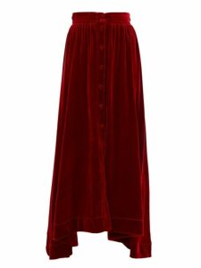 Raquel Diniz - Dana Handkerchief Hem Silk Velvet Skirt - Womens - Red