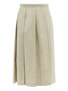 Jil Sander - Tailored Wool Blend Pleated Skirt - Womens - Grey