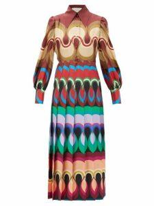 Gucci - Pleated Wave Print Silk Satin Dress - Womens - Burgundy Multi