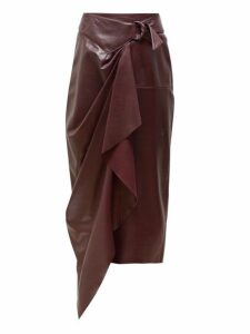 Isabel Marant - Fiova Belted Draped Leather Skirt - Womens - Burgundy