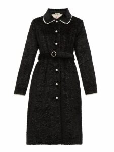 Shrimps - Pegasus Pearl Embellished Faux Fur Coat - Womens - Black