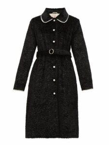 Shrimps - Pegasus Pearl Embellished Faux Fur Coat - Womens - Black