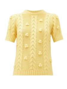 Shrimps - Elea Cable Knit Merino Wool Blend Sweater - Womens - Yellow