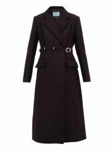 Prada - Metal Buckle Single Breasted Wool Coat - Womens - Black
