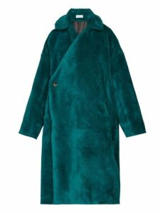 Balenciaga - Asymmetric Fastening Faux Shearling Coat - Womens - Dark Green
