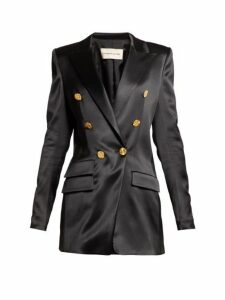 Alexandre Vauthier - Double Breasted Satin Blazer - Womens - Black