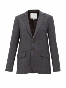 Tibi - Windowpane Check Wool Blend Blazer - Womens - Dark Grey