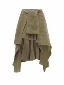 Chloé - Handkerchief Hem Houndstooth Wool Skirt - Womens - Beige Multi