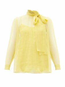 Valentino - Pussy Bow Chiffon Blouse - Womens - Yellow