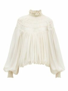 Chloé - Ruffled Neck Silk Georgette Blouse - Womens - Ivory