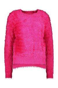 Womens Feather Knit Fluffy Jumper - Pink - M/L, Pink