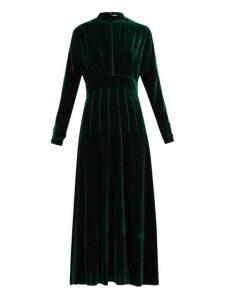 Raquel Diniz - Yang Pintucked Silk Velvet Dress - Womens - Green