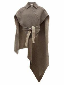 Jw Anderson - Asymmetric Wrap Around Cashmere Cape - Womens - Light Grey