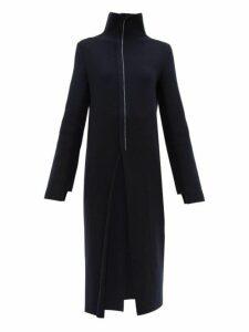 Jil Sander - High Neck Wool Blend Midi Dress - Womens - Navy