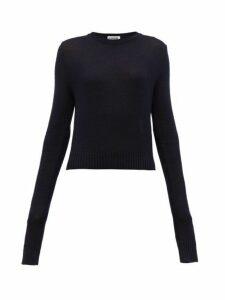 Jil Sander - Exaggerated Sleeves Wool Sweater - Womens - Dark Navy