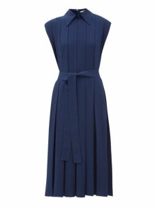 Emilia Wickstead - Evanthe Pleated Crepe Midi Dress - Womens - Navy