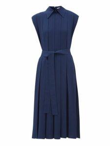 Emilia Wickstead - Evanthe Pleated Crepe Midi Dress - Womens - Navy