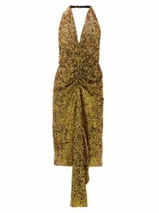 Halpern - Gathered Sequinned Dress - Womens - Gold
