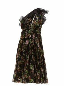 Giambattista Valli - One Shoulder Floral Print Silk Georgette Dress - Womens - Black Multi
