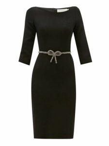 Goat - Impact Crystal Bow Belt Wool Crepe Dress - Womens - Black