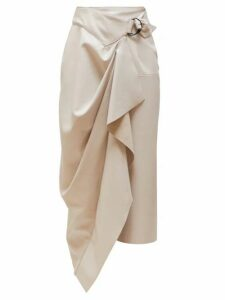 Isabel Marant - Fiova Draped Leather Midi Skirt - Womens - Ivory