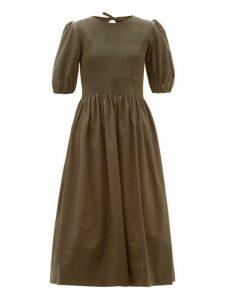 Molly Goddard - Rory Smocked Puff Sleeve Cotton Midi Dress - Womens - Khaki
