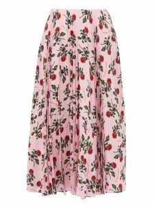 Valentino - Rose Printed Pleated Silk Midi Skirt - Womens - Pink