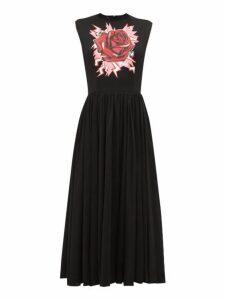 Prada - Electric Rose Print Cotton Midi Dress - Womens - Black Print