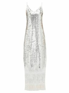 Erdem - Arden Lace-trim Sequinned Slip Dress - Womens - Silver
