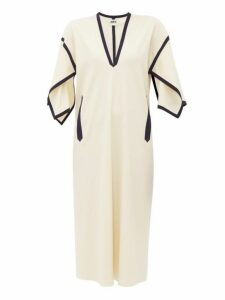 Maison Rabih Kayrouz - Grosgrain Trim Wool Blend Dress - Womens - Ivory Multi