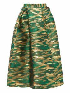 Maison Rabih Kayrouz - Panelled Ikat Jacquard Midi Skirt - Womens - Green Multi